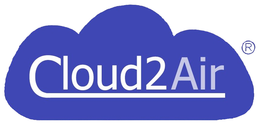 Cloud 2 Air logo - invertované